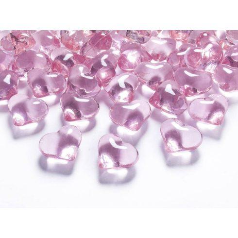 Szív alakú díszítő kő -  világos rózsaszín