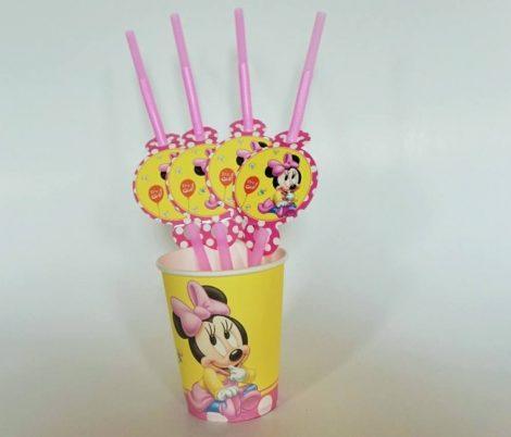 Baby Minnie party szívószál (6 db-os csomag)