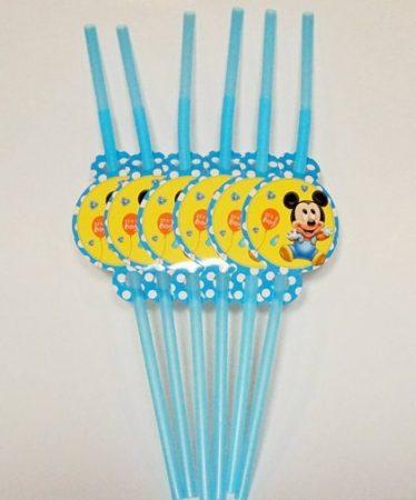 Baby Mickey party szívószál (6 db-os csomag)