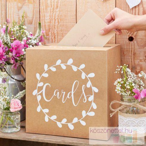 """""""Cards"""" rusztikus stílusú nászajándék/jókívánság gyűjtő doboz"""