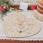 Szív alakú, puzzle alternatív vendégkönyv