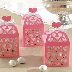 Lámpás alakú köszönetajándék doboz - világos rózsaszín