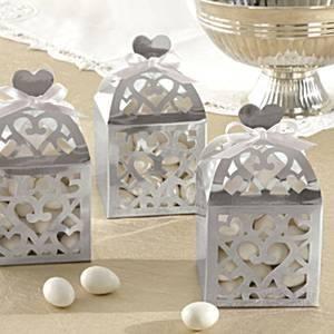 Lámpás alakú köszönetajándék doboz - ezüst