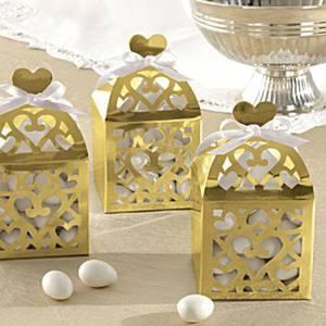 Lámpás alakú köszönetajándék doboz - arany