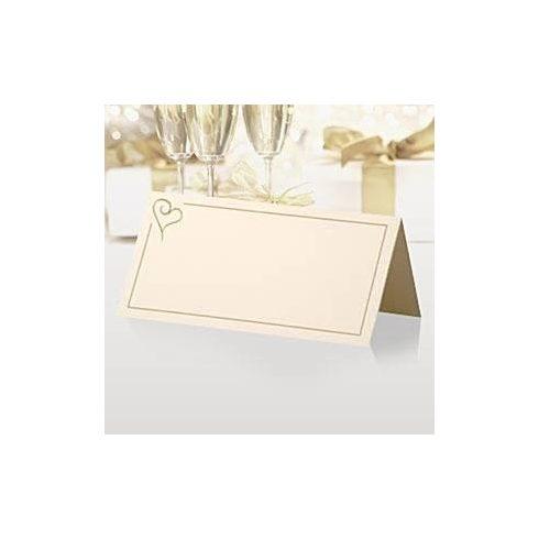 Krém színű, arany szívvel díszített ültetőkártya