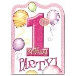 Első szülinapi meghívó - rózsaszín (8 db-os)