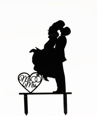 Romantikus pár sziluett tortadísz - fehér