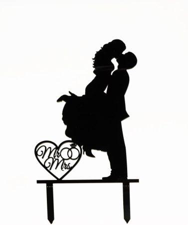 Romantikus pár sziluett tortadísz - fekete
