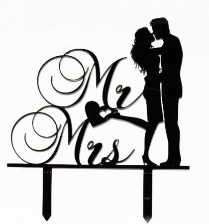 """""""Adj egy csókot"""" - Mr & Mrs sziluett tortadísz fekete vagy fehér színben"""