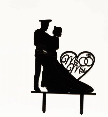 Rendőrös sziluett tortadísz fekete vagy fehér színben