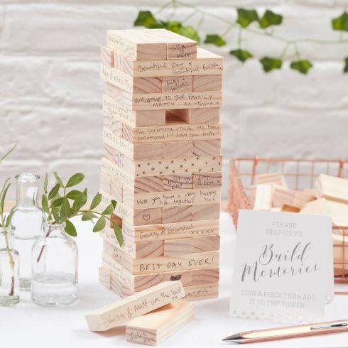 Építőkockás alternatív esküvői vendégkönyv