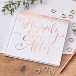 """""""Happily Ever After"""" rose gold mintával díszített vendégkönyv"""