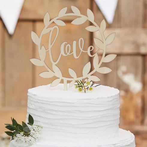 """""""Love"""" rusztikus fa tortadísz"""