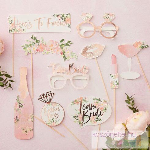 Virágos lánybúcsú fotókellék készlet  (10 db-os)