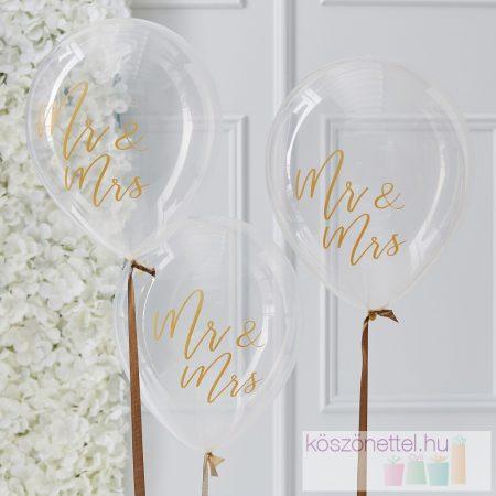 Mr & Mrs átlátszó lufi aranyszínű felirattal