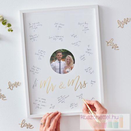 """""""Mr & Mrs"""" feliratozható esküvői vendégkönyv keret"""