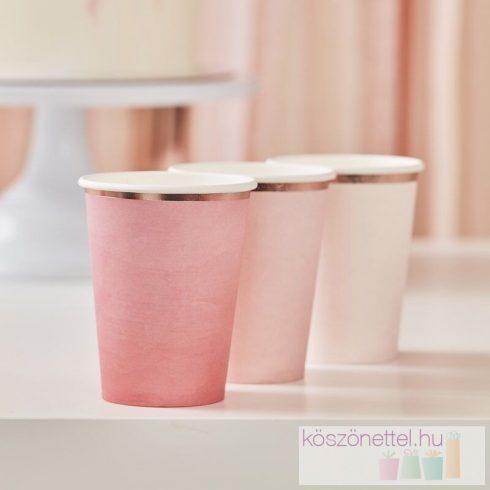Ombre rózsaszín papírpohár mix (8 db-os csomag)