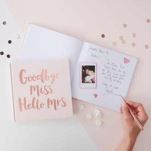 """""""Goodby Miss - Hello Mrs"""" - lánybúcsú emlékkönyv"""