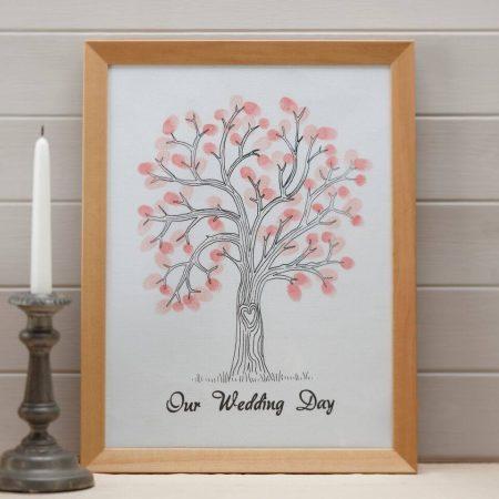 Rózsaszín ujjlenyomat fa készlet - alternatív esküvői vendégkönyv