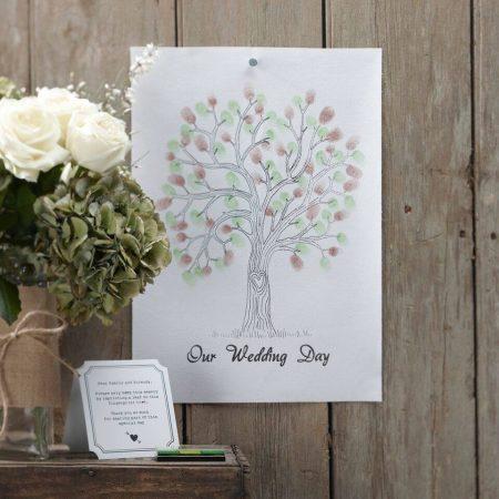 Zöld-barna ujjlenyomat fa készlet - alternatív esküvői vendégkönyv