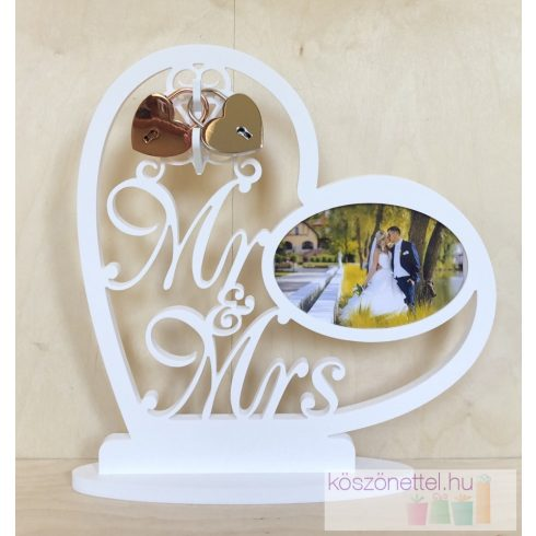 Mr & Mrs fényképes asztali dísz esküvői lakatceremóniára szimpla szív lakattal