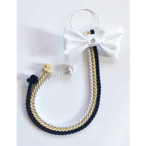 Selyemfényű kötelek karikára fűzve választható dísszel (fehér- világos arany - sötétkék)