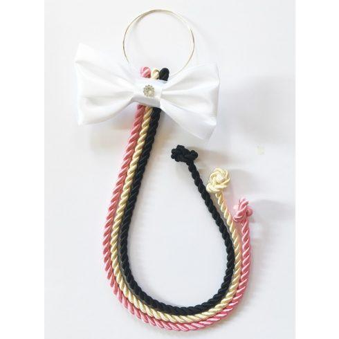 Selyemfényű kötelek karikára fűzve választható dísszel (rózsaszín-krém-fekete)