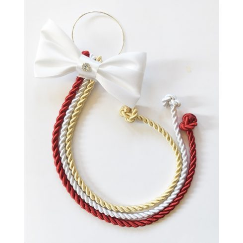 Selyemfényű kötelek karikára fűzve választható dísszel (piros-fehér-világos arany)