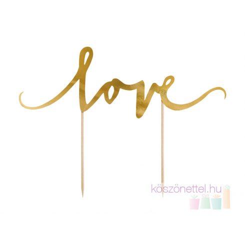 """""""Love"""" karton tortadísz aranyszínű"""