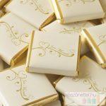 """""""Just married"""" aranyszínű szívvel díszített csoki"""