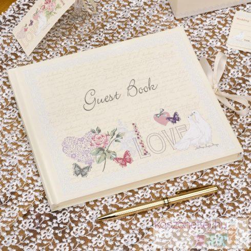 """""""Love"""" - galambos esküvői vendégkönyv"""
