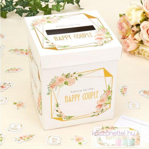 Jókívánság gyűjtő doboz - Geo-virág kollekció (kis méretű)