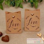 """""""Love"""" feliratos rusztikus stílusú köszönetajándék csomagoló tasak"""