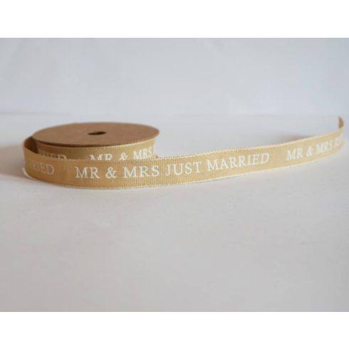 Just married Mr & Mrs feliratos vászonszalag 15 mm * 5 m