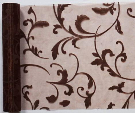 Indamintás organza futó csokoládébarna - 23 cm