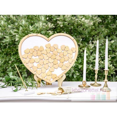 Szív alakú vendégkönyvkeret 70 db szívvel