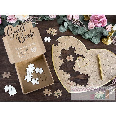 Szív alakú, karton puzzle alternatív vendégkönyv (Beszerzés alatt)