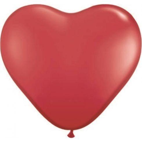 Szív alakú lufi 25 cm piros vagy fehér színben