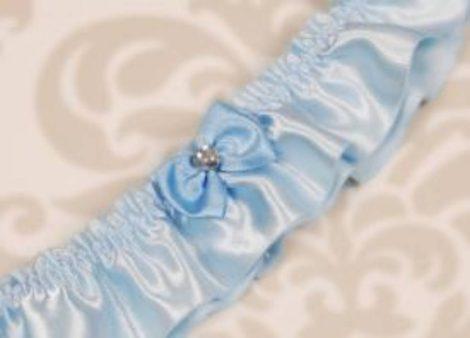 Kék szatén combcsipke masnival