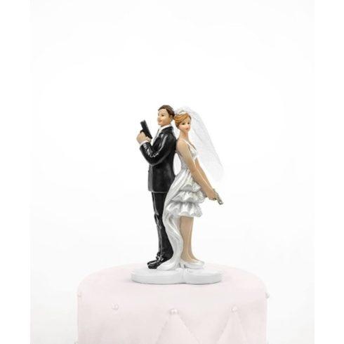 Szexi kém pár - esküvői tortadísz
