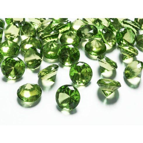 Gyémánt alakú dekorkő 20 mm -  világos zöld