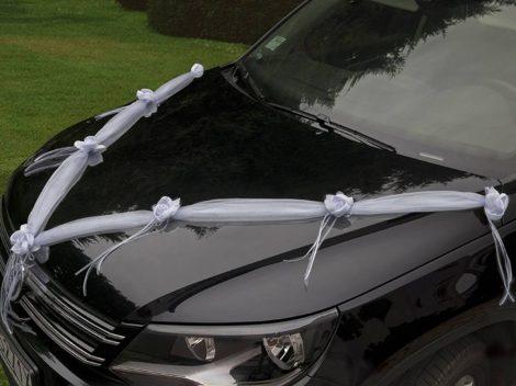 Autódekorációs szalagok rózsával - fehér
