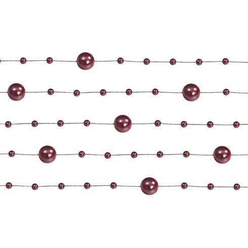 Gyöngy girland bordó (5 db-os csomag)