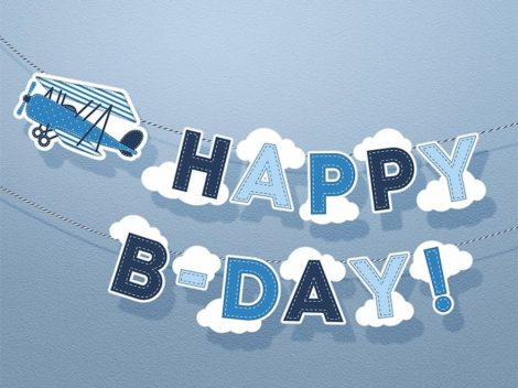 Happy B-day repülős banner
