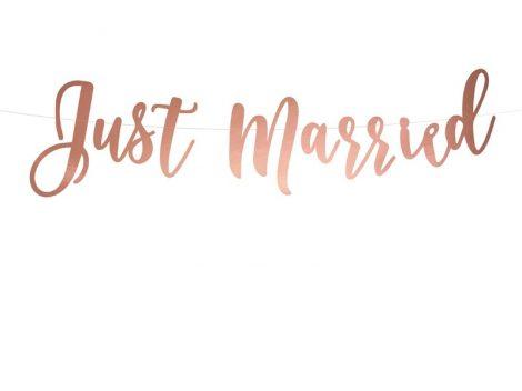 """Just married"" rose gold színű felirat (20*77 cm)"