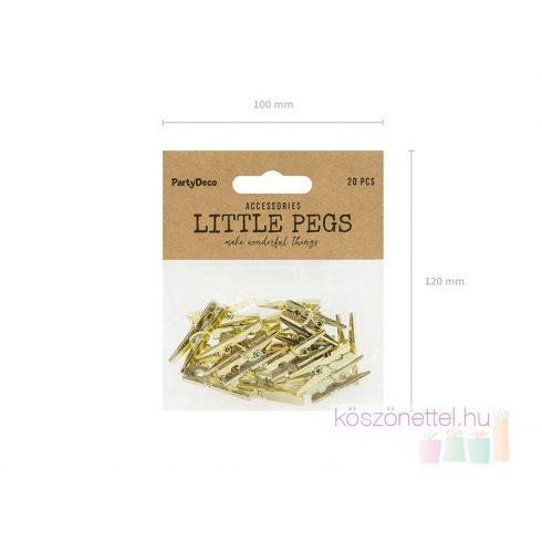 Aranyszínű mini csipesz  (20 db-os csomag)