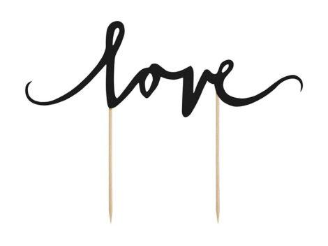 """""""Love"""" karton tortadísz (fekete)"""