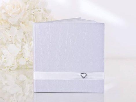 Fehér szív strasszos vendégkönyv