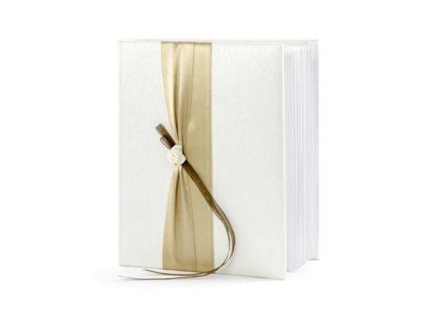 Esküvői vendégkönyv arany színű szalaggal