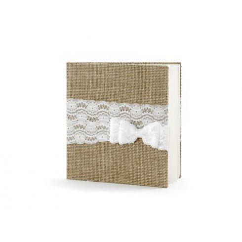 Rusztikus vendégkönyv fehér csipkemasnival